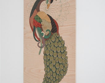 Peacock Wall Art on Plywood, peacock design with mid century and vintage inspired patterns
