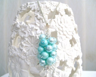 Rhinestone and Pearl Cluster Necklace for Bridesmaids, Spearmint, Pearls and Crystals Bridal Jewelry, Wedding Jewelry, Bridal, Dangle Charm