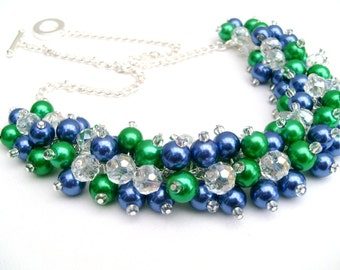 Emerald Green and Royal Blue Pearl Beaded Necklace, Bridesmaid Jewelry, Cluster Necklace, Bridesmaid Gift, Custom Colours, Bridal Jewelry