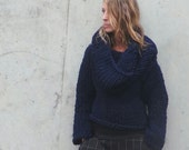 Navy Sweater  Hooded Navy chunky slouch sweater