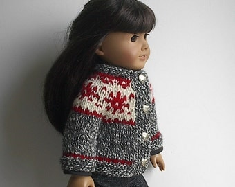 RESERVED FOR DONNA - Handknit Icelandic Fair Isle Charcoal Tweed with Cream and Red Snowflakes  - Handmade to Fit the American Girl Dolls
