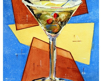 ACEO Martini Art with Olives, Cocktail, Bar or Kitchen Wall Decor, Miniature Print
