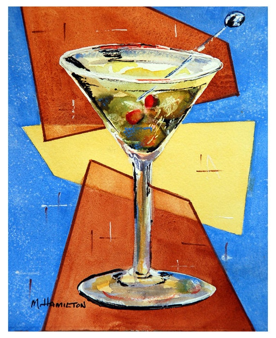 Martini Art Print Martini Glass With Olives Cocktail Bar