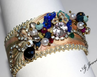 Shibori Silk Bracelet Rhinestone ~Splendor