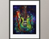 Fine Art Print Colorful Electric Guitar Stratocaster Music String Instrument Acrylic Painting Abstract Contemporary Modern Elena