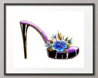 Fine Art Print Flower Shoes Stiletto Fashion Colorful Watercolor Abstract Modern Contemporary Elena