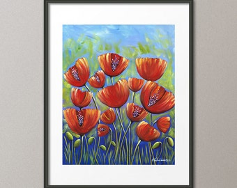 Gallery Canvas and Fine Art Prints Red Poppies Flower Garden Modern Abstract Contemporary Art Elena