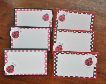 Ladybug Tent Cards. Place cards. Food Labels. Ladybug party. Red. Black. Polka Dots. Set of 6