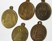 5 Antique Large French Dutch St Hubert St Roch Sacred Hearts Holy Blood Lourdes Religious Medal Pendant Charm