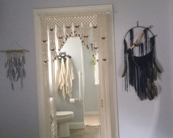 Wedding Decor Beaded Arch Curtain  By Craftflaire in Hand Knotted  Macrame
