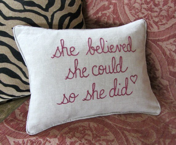 Hand Embroidered Linen Inspirational Pillow For Her ~ She Believed She Could So She Did ~ Burgundy Taupe Linen Pillow ~ Bedroom Decor