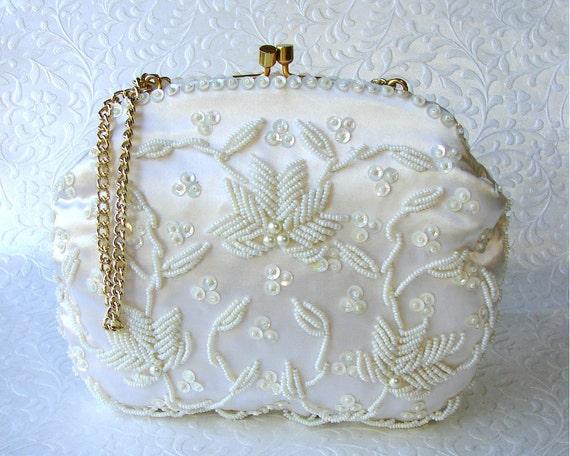 Sweet 1960's SHARONEE White Satin Purse Vintage Hand Beaded Sequin Wedding Handbag British Hong Kong Formal Bridal Kiss Clasp Gold Chain
