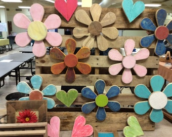 Recycled repurposed  Pallett Wood Flowers