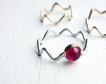 14k Gold and Sterling Silver Wiggle Ring with Ruby/Pearl Doublet
