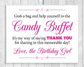 Printable Grab a Bag and Help Yourself to the Candy Buffet 8x10 Black and Hot Pink Fuschia Digital Birthday Sign - Instant Download
