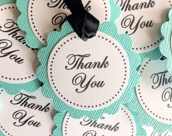 100 Aqua or Pool Blue and Black and White Scalloped Circle Thank You Wedding Favor Tags - READY TO SHIP