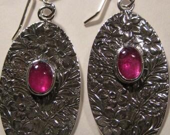 Ruby Floral Pattern Earrings .  Sterling Silver.                                   e850