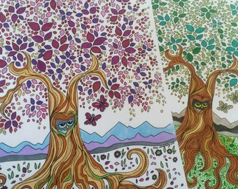 owl & tree coloring page digital download art