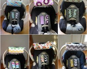 Cute CUSTOM Car Seat Arm Pad with Hand Grip and Strap Cover Set of Your CHOICE of Fabric