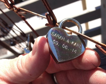 Engraving for heart shaped lock-PLEASE READ!