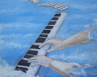 Piano Hands print of casein painting
