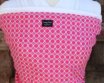 Ready To Ship-ORGANIC COTTON Baby Wrap-Hot Pink On White-DVD Included-One Size Fits All