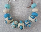 Tourqouise and Ivory - Lampwork Bead Set - Etched