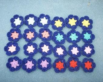 24  blue cotton thread crochet applique flowers --  1980
