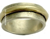 Two Tone Spinner band, Silver gold band, spinner ring, men band, simple band, rustic ring, unisex ring, wedding band - Zero hour R1284