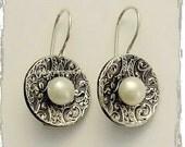 Pearl earrings, June birthstone earrings, Victorian Earrings, oxidized earrings, sterling silver earrings, disc earrings - Victoria E2089B