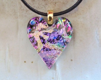 Fused Dichroic Glass Heart Pendant, Necklace, Glass Jewelry, Necklace Included, Pink, Lavender, One of a Kind, A8