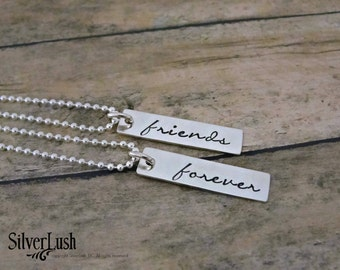 Best Friends Sterling Silver Necklace Set - Friends Forever - BFF Gift