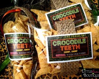 Safari jungle stickers,Crocodile Teeth Stickers,African Safari stickers,alligator stickers,animal print ,Safari party favors,Set of 12