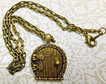 Antique Brass Necklace Fairy Door Locket Pendant on a 20 inch Chain