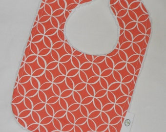 Coral Tile Pile Fabric and Chenille Bib