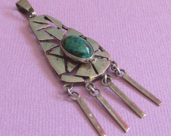 Vintage Dangle Pendant, Green Stone Jewelry, Artisan Pendant, Sterling Pendant, Rustic Jewelry, Organic Sterling Jewelry