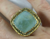 Aquamarine and Raw Diamond  multi stone Ring, 22 kt gold and aquamarine diamond ring, OOAK, statement ring