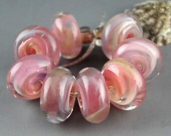 Lampwork Glass Beads, handmade lampwork bead set, jewelry supplies, lampwork spacer bead, artist lampwork, Dusky Peony, 8 Handmade