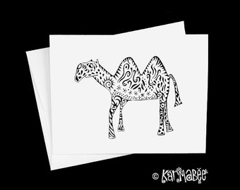 Camel Note Cards Single Blank Notecard