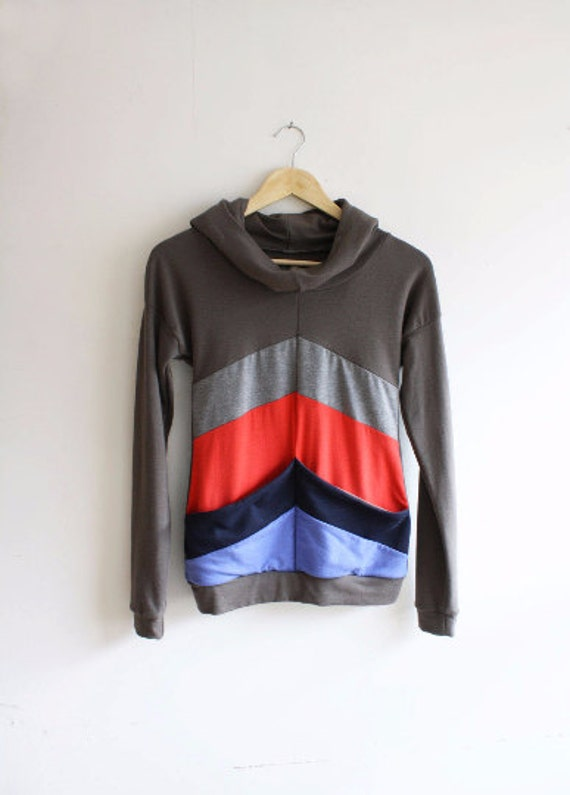 Ready to Ship / Red Blue Grey Hoodie / Rayon from Bamboo / by Replicca / size Small