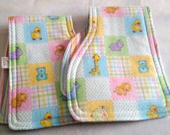 Set of 2 Burp Cloths-Baby Animals, Plaids and Stripes