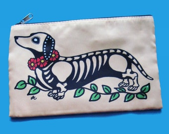 Day of the Dead DACHSHUND Purse Cosmetic Bag Makeup Case Pouch