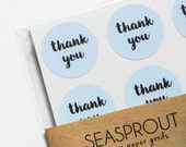48 Thank You Stickers, Light Blue Stickers, Envelope Seal, Wedding Label, Gift Wrapping, Thank You Sticker, Calligraphy Stickers