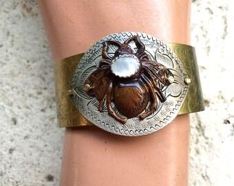BEE Cuff Bracelet  - Mother of Pearl,  Steampunk, Steampunk jewelry, Steampunk Cuff, Gothic Jewelry, Victorian Bracelet, Steampunk Bracelet