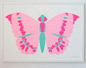 Neon Butterfly Screenprint