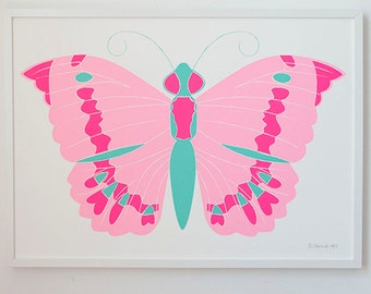 Neon Butterfly Screenprint