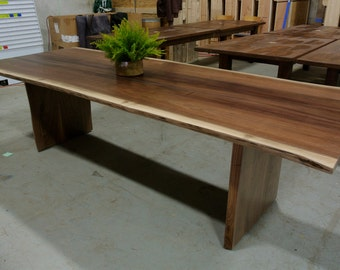 Custom WALNUT Organic Live Edge Table with Slab Legs.