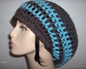 Dreads Hat Mens Womens Charcoal Blue Rasta Slouchy Hat Dreadlocks Slouchy