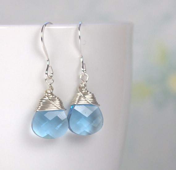 Aquamarine Silver Earrings. Aqua Blue Sterling Silver Earrings. March Birthstone Silver Earrings, #551