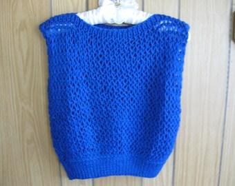Royal Blue Handknit Boatneck Vest for Ladies